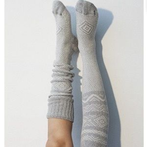Scandinavian thigh high luxury cable knit socks